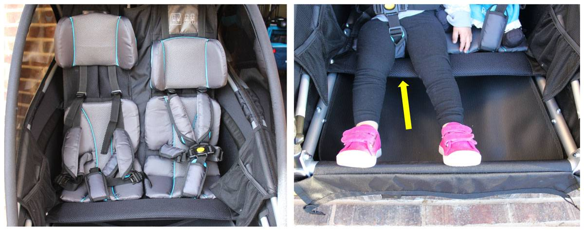 Soft padded cushions and true bench seat bottom on Burley D'Lite X bike trailer