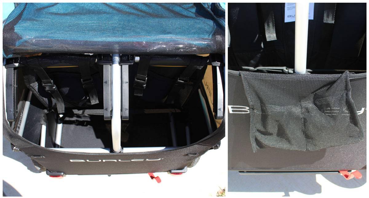 Storage of D'Lite X is in the back behind the seats. There is also a small pocket inside the larger storage to hold keys and a phone.