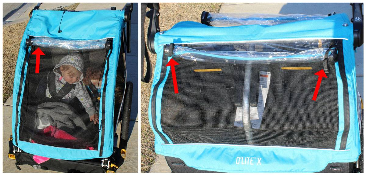 The plastic weather cover on the Burley D'Lite X is rolled up an stored at the top of the trailer when not in use.