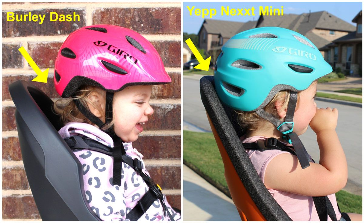 Burley Dash child bike seat has plenty of space for the child's helmet