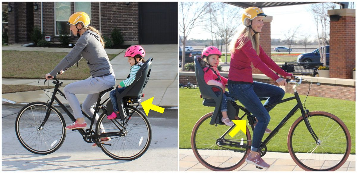 Side by side comparison of mom riding with toddlers in Burley Dash Child Bike seat - rack mounted and frame mounted.