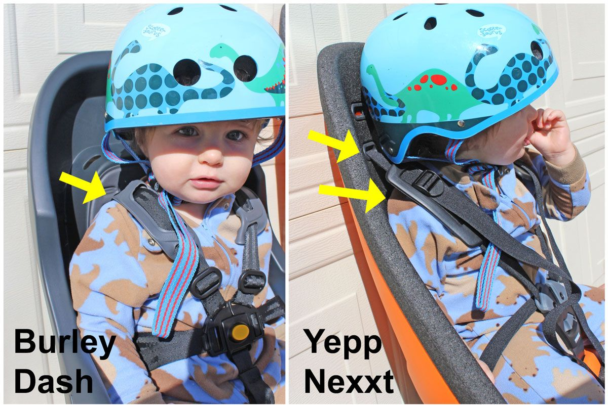 Side by side comparison of minimum height shoulder height setting on Burley Dash vs Thule Yepp Nexxt Maxi