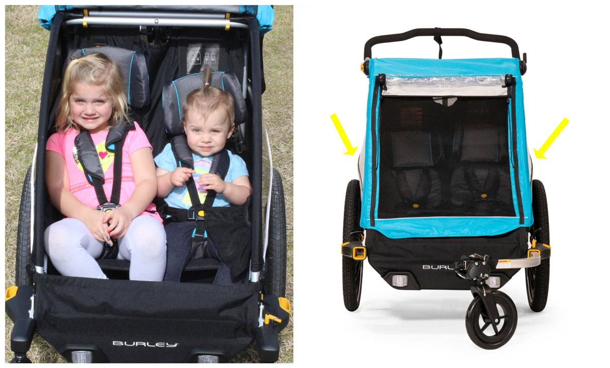 Burley D'Lite trailer has bowed-out sides which provide extra shoulder room for older riders