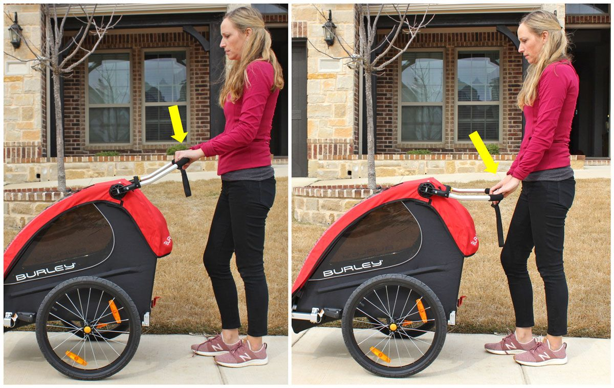 Side by side comparison of woman using Burley Honey Bee stroller handlebar and low and high height settings