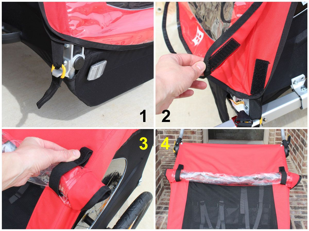 External covers on Burley Honey Bee bike trailer. Velcro and plastic tie downs for covers.