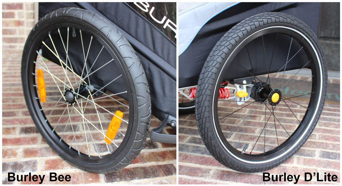 Side by side comparison of Burley Bee tire tread and the more aggressive treat of the Burley D'Lite