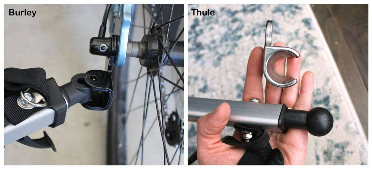 Side by side comparison of Burley and Thule hitches