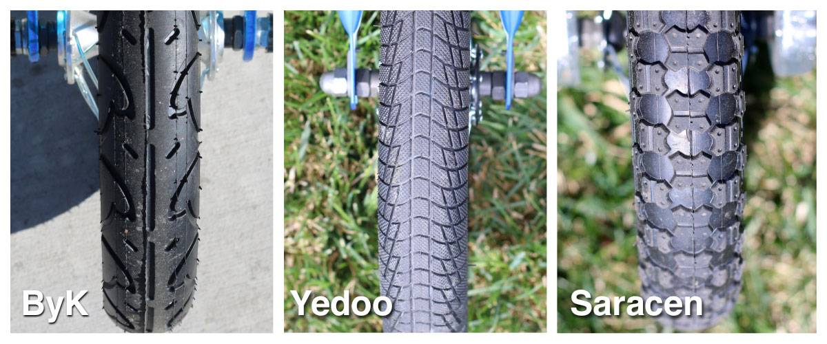 Side by side comparison of tire tread on ByK balance bike, Yedoo, and Saracen balance bikes