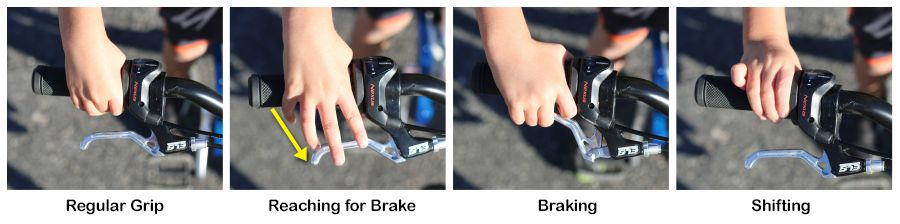 Shifter and handbrake on ByK E-450x3i showing 1) Regular grip, 2) Reaching for the brake is a bit of a stretch, 3) The brake engaged, 4) Child's twisting the shifter
