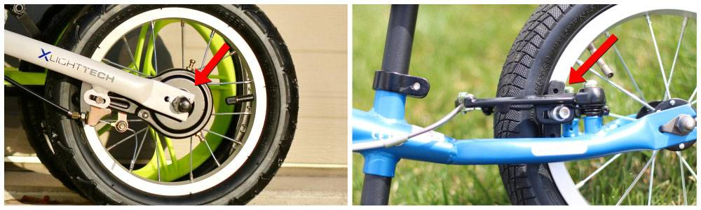Side by side comparison of drum brake on ByK balance bike and more standard v-brake on another balance bike