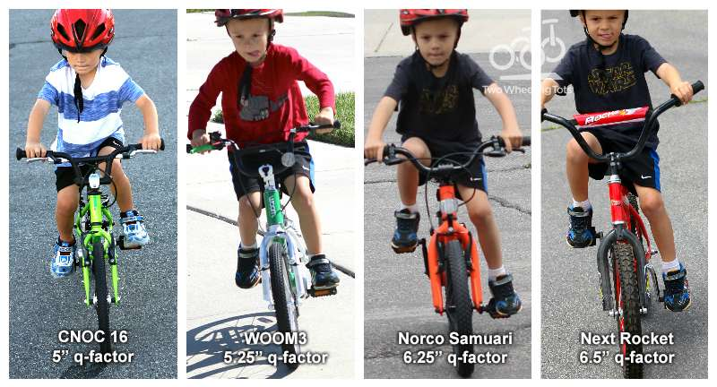 Higher-end kids bikes that are sold online are more narrow so a child doesn't have to splay their legs to ride.