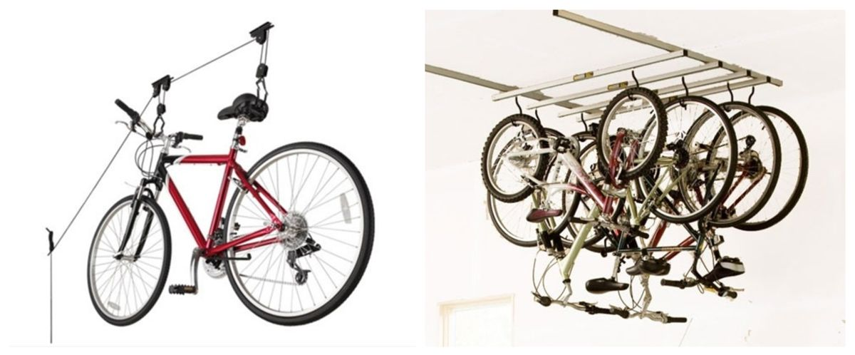 Racor ceiling bike hoist and Saris Cycle glide - two examples of ceiling bike storage