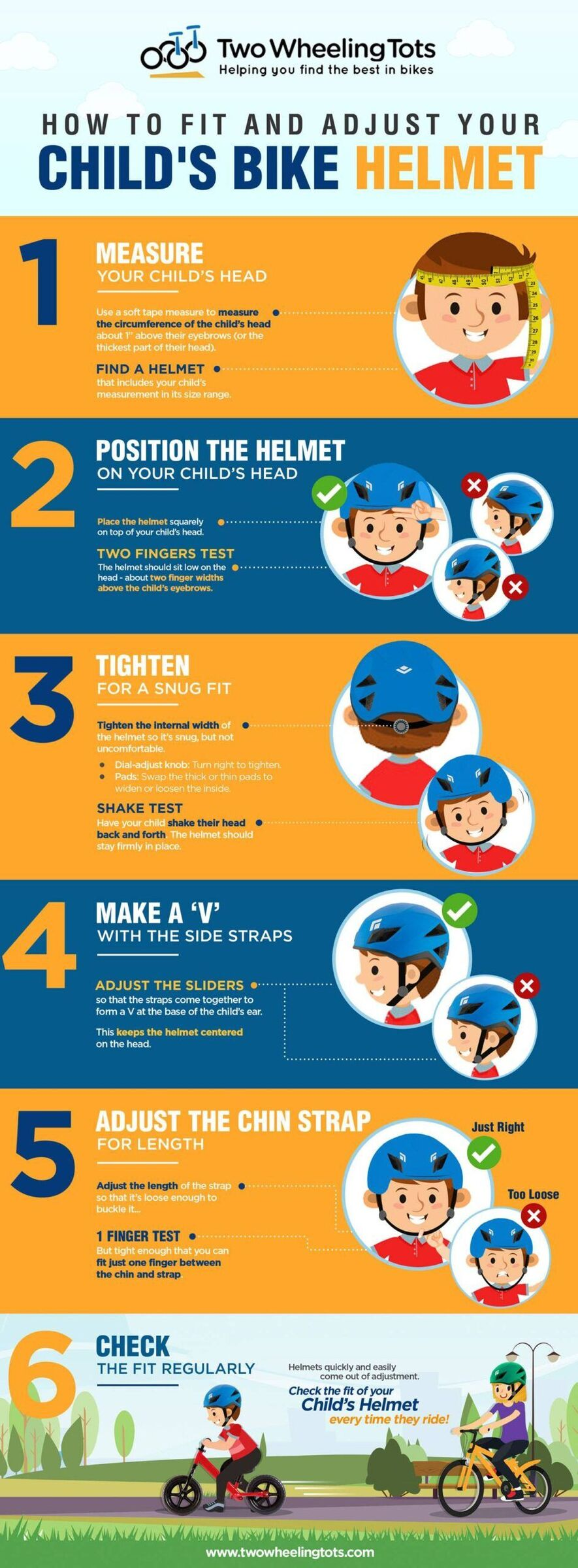 Infographic that shows 6 steps to fit and adjust your child's bike helmet. 1. Measure your child's head. 2. Position the helmet squarely on the head. 3. Tighten for a snug fit. 4. Make a V with the side straps. 5. Adjust the chin strap for length. 6. Check the fit regularly.