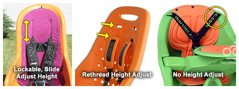 Collage showing difference between child bike seats with sliding height adjust shoulder straps and those with rethread heigh adjust and no height adjust.