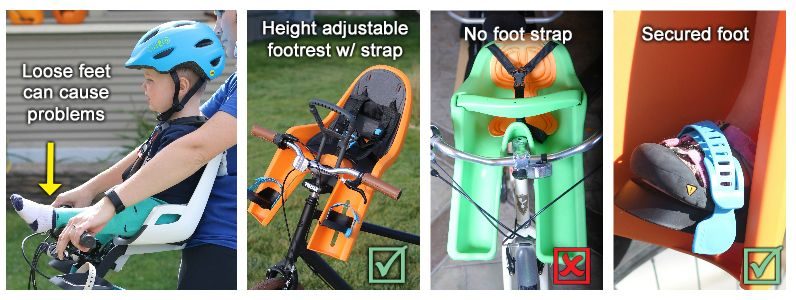 Collage showing child bike seats with and without foot straps.