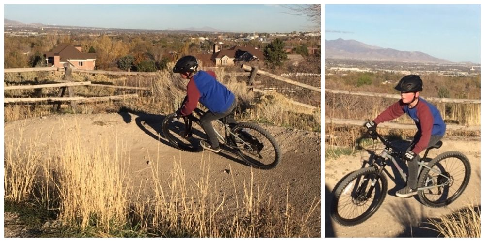 "10-year-old riding Cleary Scout 26"" at bike park"