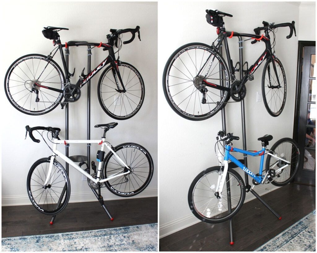Delta Cycle freestanding bike rack in a home office, holding two bikes
