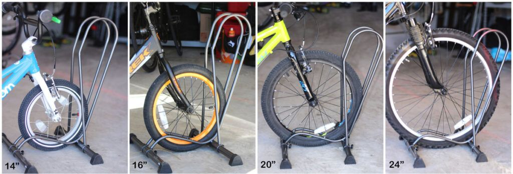 Side by side images of the Delta Cycle Shop floor bike stand in the garage. Each with different sized kids bikes