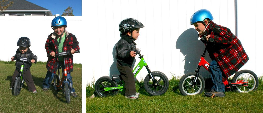 Two brothers - ages 1.5 and 4.5 - both riding a Strider balance bike.