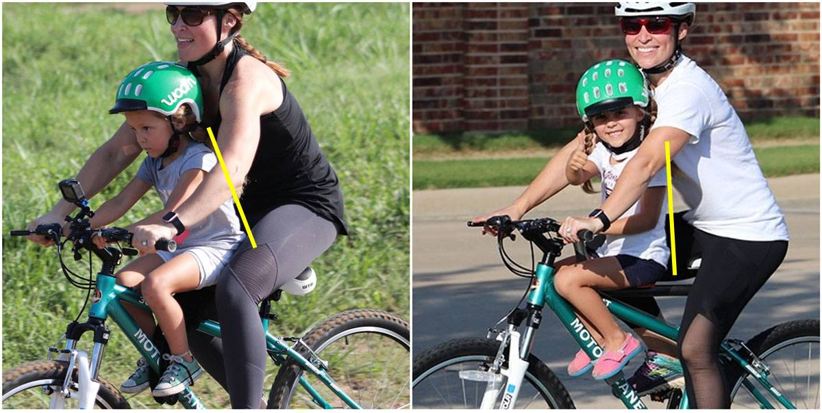 Collage showing child with aggressive posture on Do Little Child bike seat versus upright posture on Tyke Toter child bike seat