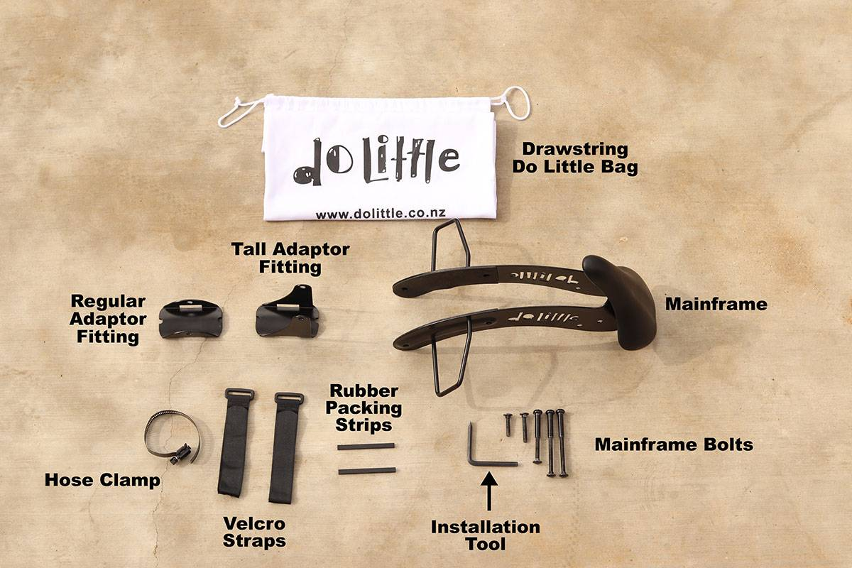 All the parts necessary for installing Do Little child bike seat on a bike
