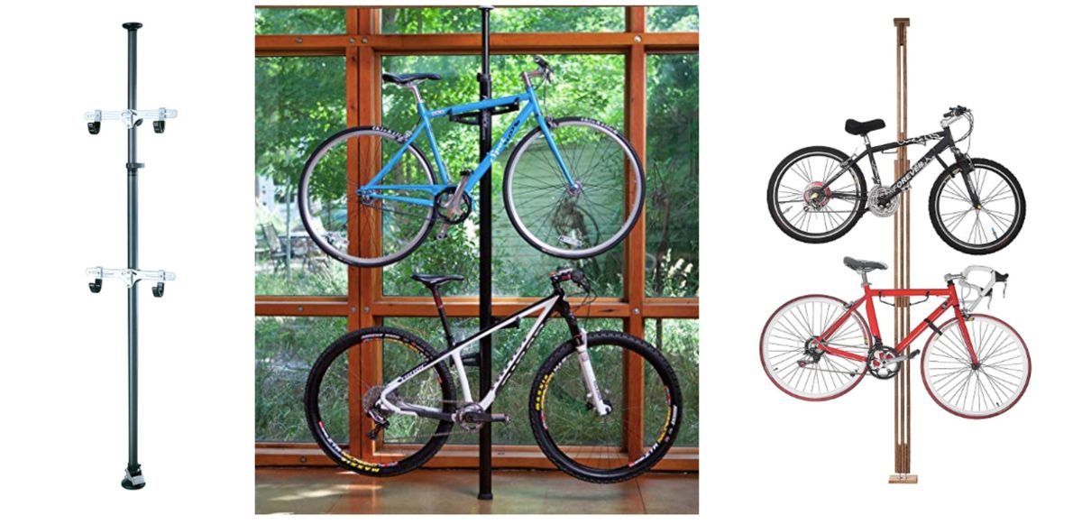Collage showing examples of indoor floor-to-ceiling telescopic racks - Topeak Dual Touch, RAD Cycle Woody Bike Stand, and Feedback Sports Velo Column