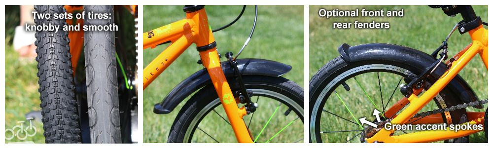 3 picture collage of included accessories for Frog 48: 1. two sets of knobby tires, 2. Front fender, 3. Rear fender