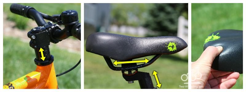 Collage of three picutres: 1. range of handlebar height adjustment, 2. showing how the saddle is adjustable up and down as well as backwards and forwards, and 3. the thick and padded saddle