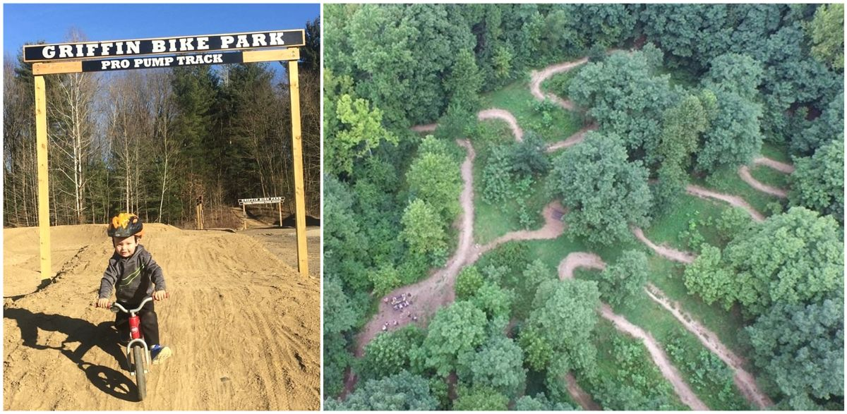 Child riding balance bike at the Griffin Bike Park pro pump track, and aerial shot of skills trails for Griffin Bike Park