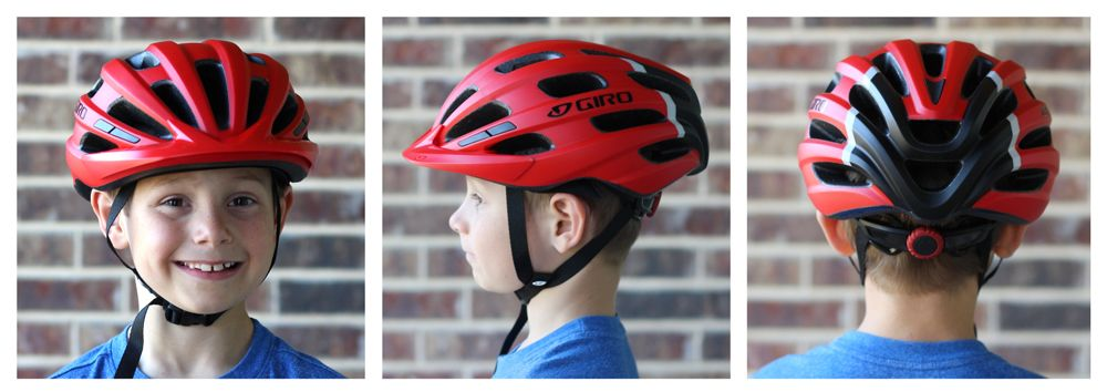 7-year-old wearing Giro Hale kid's helmet. Shots from front, side and back to show coverage.
