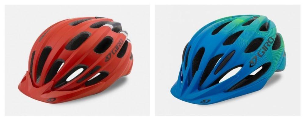 Stock photos of Giro Hale in red and Giro Raze in blue.