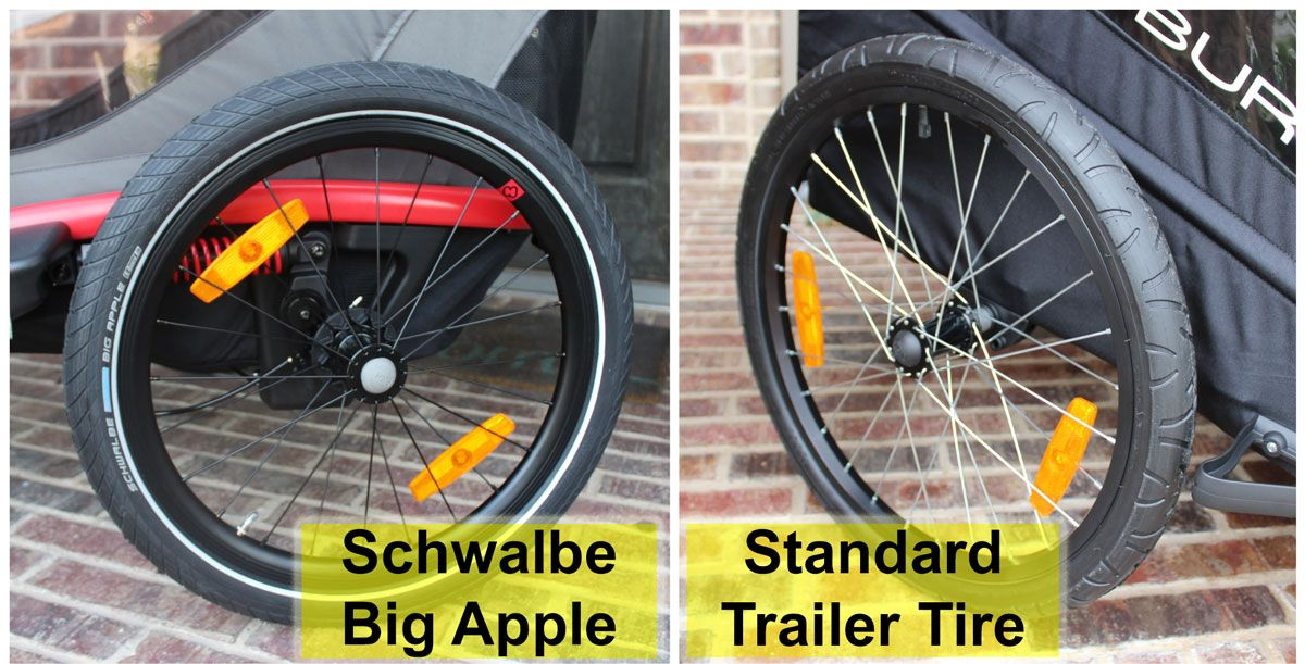 Side by side comparison of Schwalbe big apple tire vs standard trailer tire