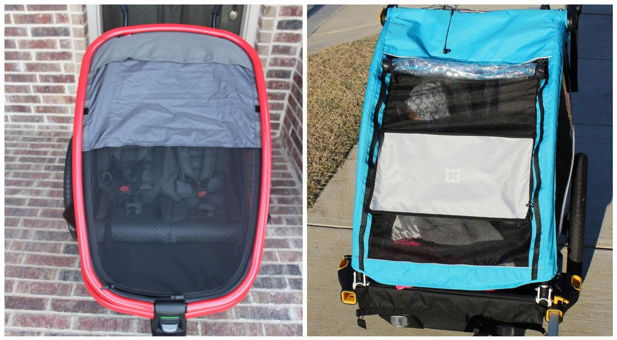 Side by side comparison of Hamax Outback sunshade vs Burley D'Lite X