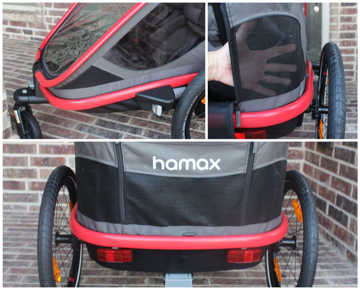 Front and rear ventilation panels in the Hamax Outback trailer stroller