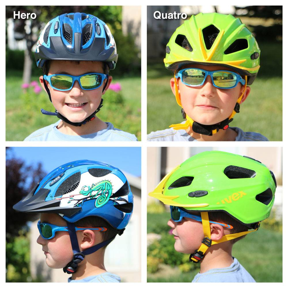 Side by side comparison of 7 year old wearing the the Uvex Quatro and the Uvex Hero. The Uvex Hero sits much higher on his head than the Quatro.