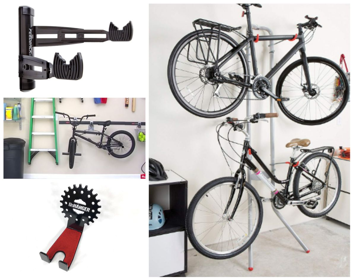 Collage of different styles of horizontal bike storage - DaHanger sprocket hood, Delta Michelangelo two bike gravity stand, Velo 2D wall rack, Rubbermaid FastTrack system