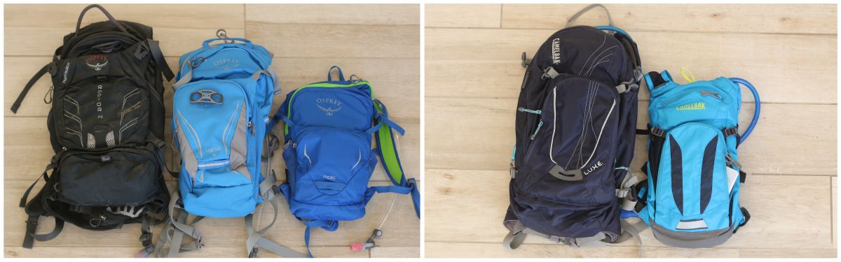 Collage showing size difference between Osprey Men's, Women's and kids' packs, and Camelbak LUXE women's pack vs the Mini MULE for kids