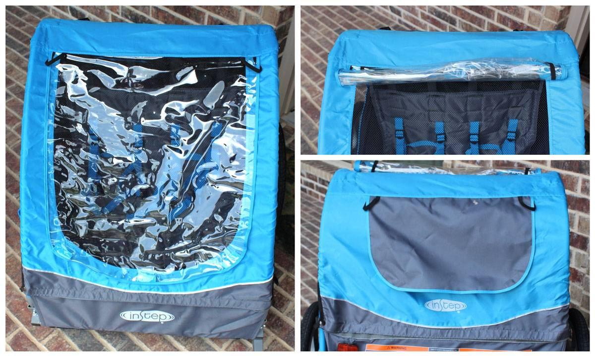 Raincover on front and back of InStep bike trailer