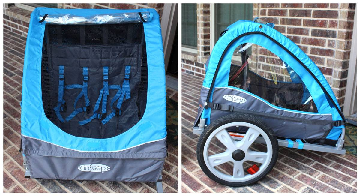 Front and side view of Instep bike trailer