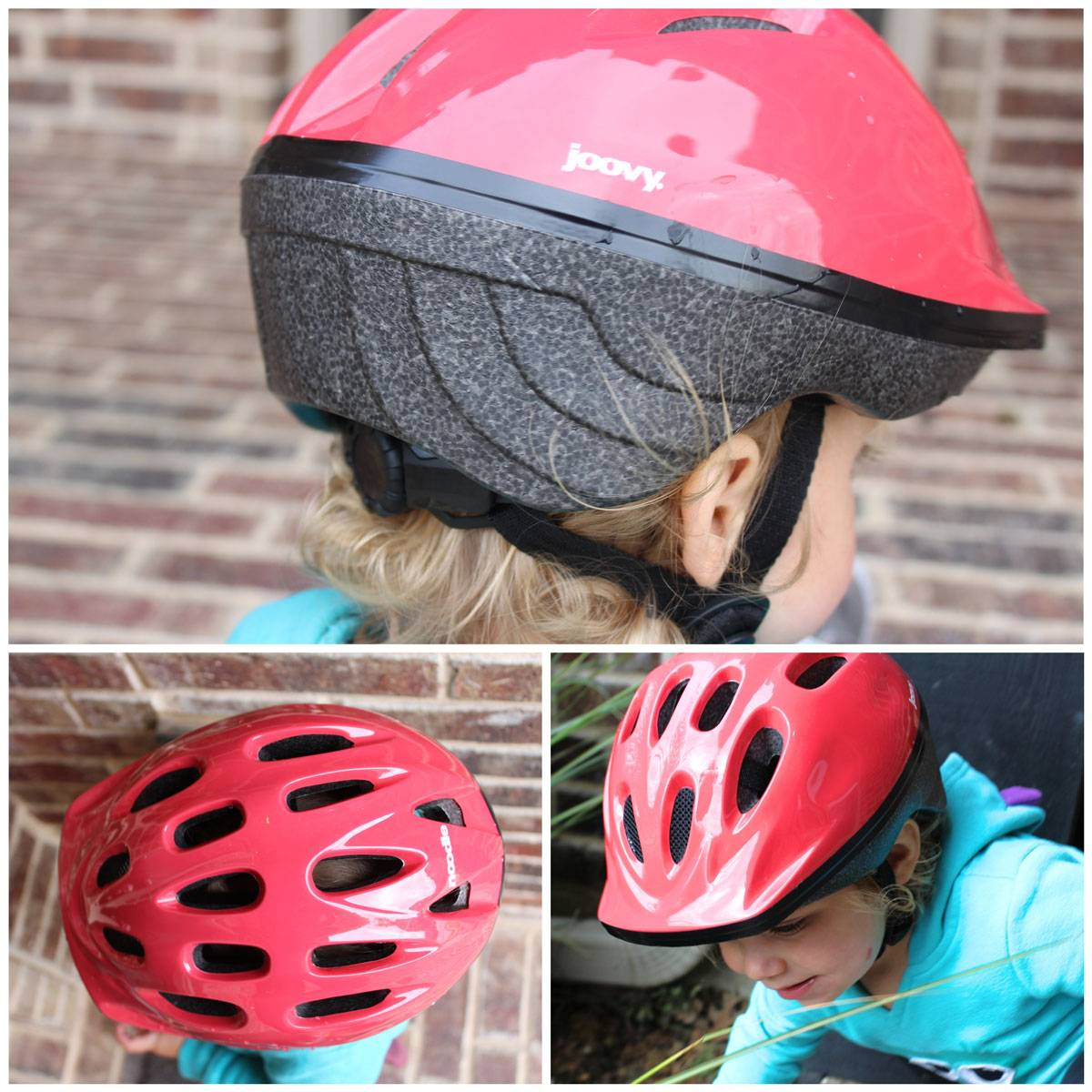 Joovy Noodle kid's helmet front the top and rear. Showcasing many vents, visor, and hardshell construction