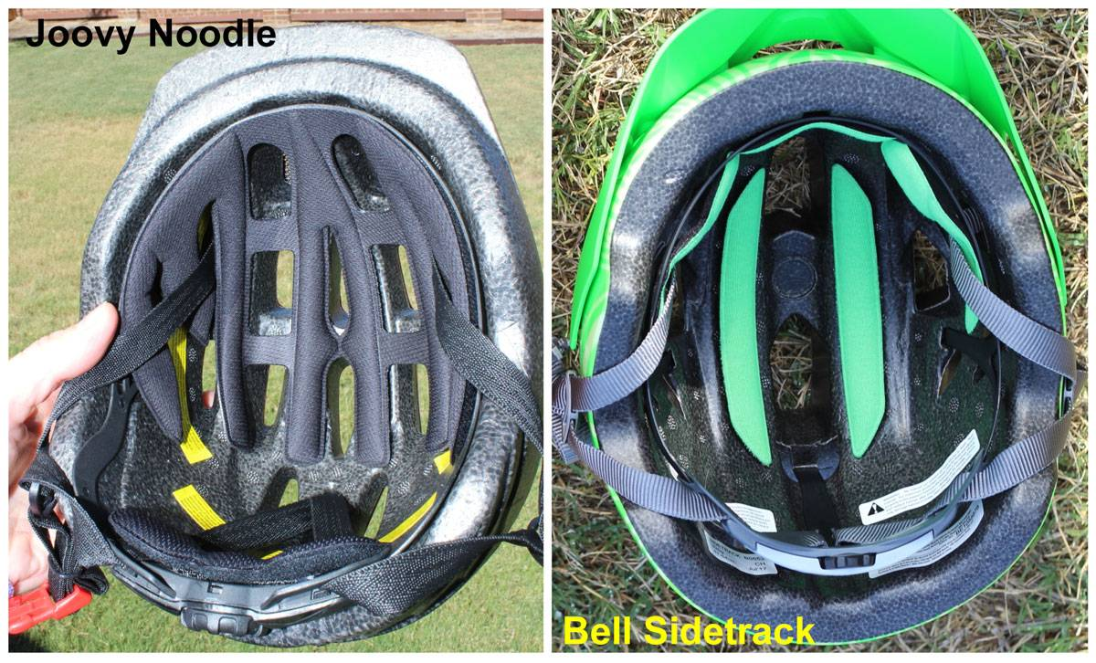 Side by side comparison of the pads in the Joovy Noodle Helmet at the Bell Sidetrack. The padding in the Noodle is one large piece. The padding in the sidetrack is 3 small pieces.