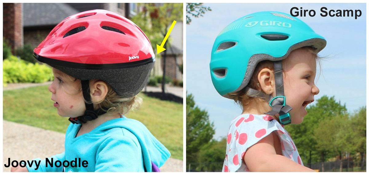 Joovy Noodle vs Giro Scamp toddler bike helmets. The rear of the Noodle is pointy, while the Scamp is flat.