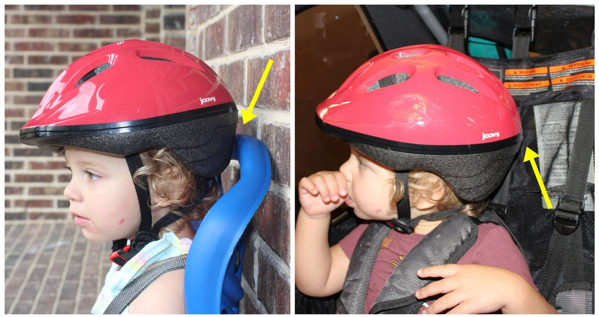Side by side images of toddler wearing Joovy Noodle in a child bike seat and in a trailer. The back of the helmet hits the back of the seat.