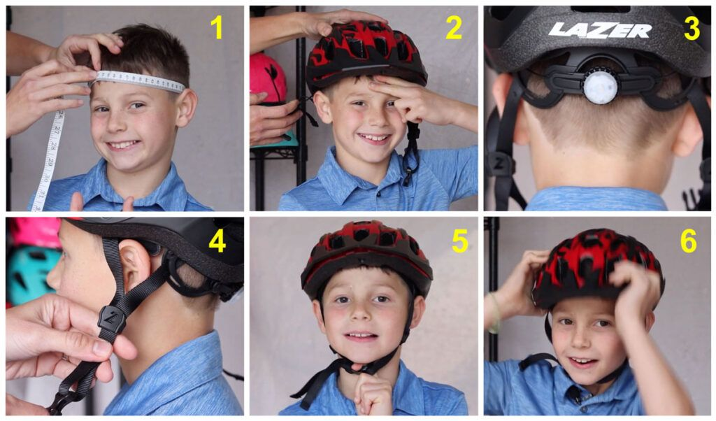 collage of 6 steps to finding and adjusting a kids helmet size