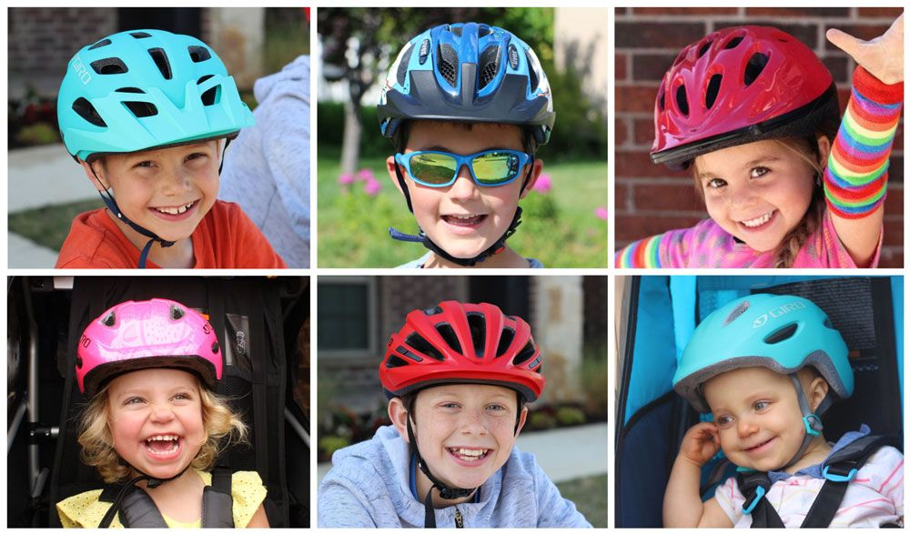 6 different ages kids wearing different kids helmet sizes