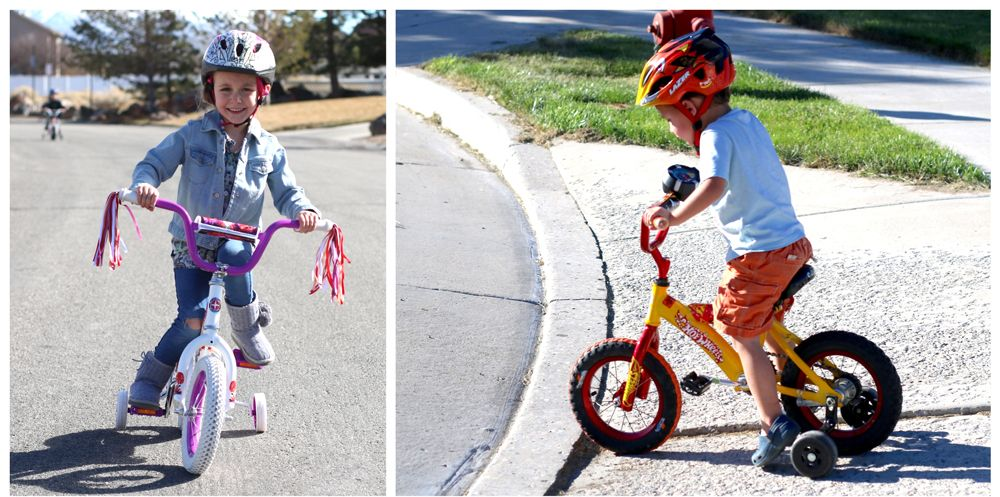 "4 year old girl and 3 year old boy riding 12"" bikes with training wheels"