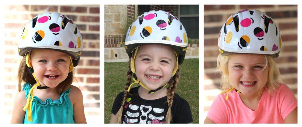 3 different girls wearing Lazer BOB helmet for sizing comparison - 16-month-old, 2.5-year-old, and 4-year-old