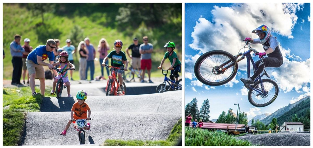 Kids riding on the pump track in Leavenworth, WA, teenage rider jumping a berm