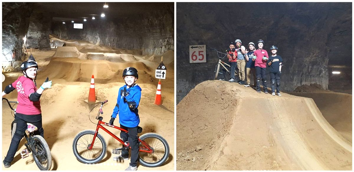 Group of young boys about to ride area 3 in Louisville Mega Cavern Bike Park