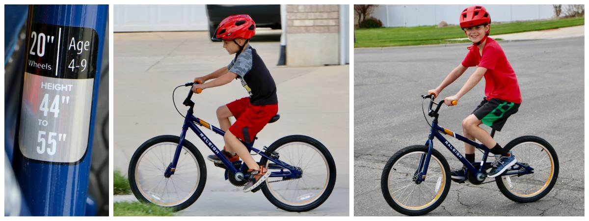 7-year-old and 9-year-old riding the Raleigh MXR 20 on the driveway